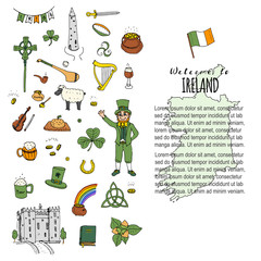 Hand drawn doodle Ireland set Vector illustration Sketchy Irish traditional food icons Republic of Ireland elements Flag Map Celtic Cross Knot Castle Leprechaun Shamrock Harp Pot of gold Travel icons