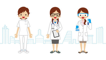 Female Healthcare Worker- Townscape Background
