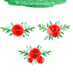 Vector flowers set. Beautiful floral hand drawn watercolor bouquet, bunch of flowers arrangement, with red poppy and green leaves isolated on white. Can be used for invitations or wedding design