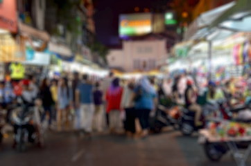 image of blurred night market decorated for background usage