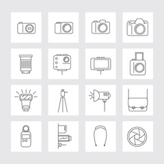 Camera, Photography Linear Icons Set, Types, Lens, Equipment and Accessories