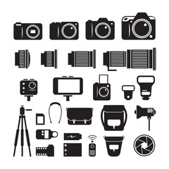 Camera, Photography Mono Icons Set, Types, Lens, Equipment and Accessories