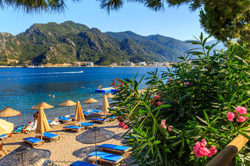 turkey seashore, white sand seacoast, mediterranean sea, a ship in the water, summer vacation