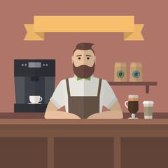 Hipster barista. Vector retro flat style barista serving coffee in cafe. Vintage cafe background.