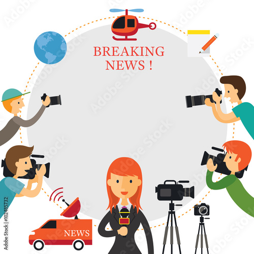 Reporter, Photographer, Cameraman, News Report Frame, Press ...