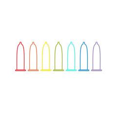 Condom rainbow line icon set. Protection. White background. Isolated. Flat design.