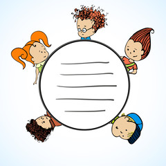 Vector group of children and a circle for the greeting