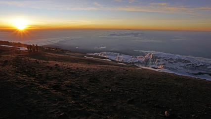 The sun rising from the top of Mount Kilimanjaro.
