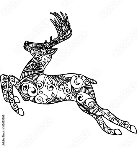 Hand Drawn Running Deer For Coloring Booklogo And Other Decorations