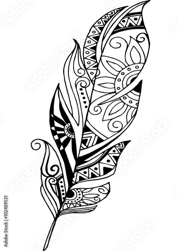Quot Vector Feather On A White Background Vintage Tribal