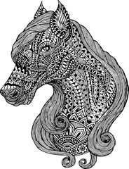 Ornament Horses. Vector illustration for textile prints, tattoo and graphic design