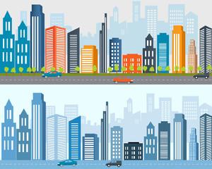 Flat designed banners, Big city life, Urban landscape.City urban design, City life. Real estate advertisement