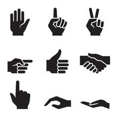 human hand symbol icon set