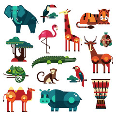 Africa and Savanna Animals Vector Set