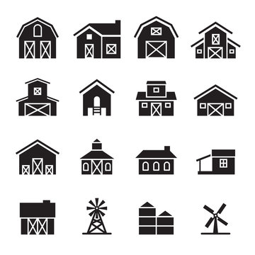 barn & farm building icon set