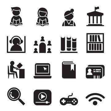 Library icon symbol set