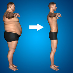 Human man fat and slim concept on blue