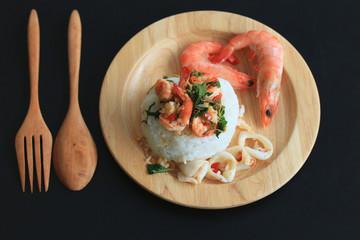 shrimp seafood basil rice
