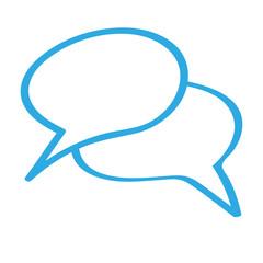Handgezeichnetes Sprechblasen-Icon in blau