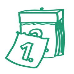 Handgezeichnetes Kalender-Icon in grün