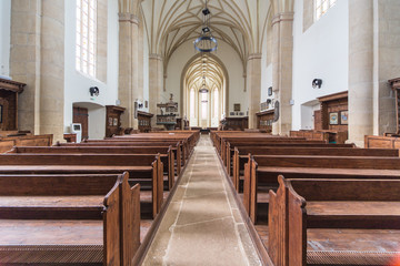 Interior of a Gothic Protestant Church in Cluj, Romania