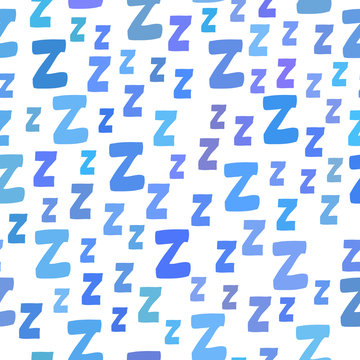 Seamless pattern with cartoon letters z. Good night!