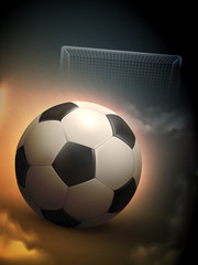 Soccer Ball And Steel Goal Background
