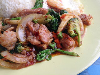 Stir Fried Pork with Roasted Chili Paste with mixed vegetables & Thai jasmine rice