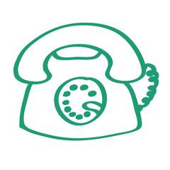 Handgezeichnetes Telefon-Icon in grün