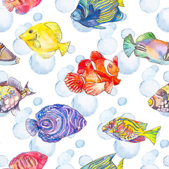 Sea pattern. Tropical fish. Medusa. Ocean .