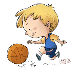 niño jugando a baloncesto