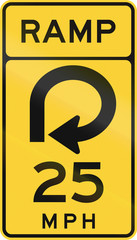 United States MUTCD road sign - Ramp with advisory speed limit