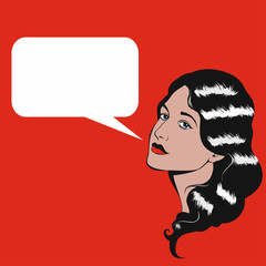 Pop Art retro illustration of woman with speech bubble.