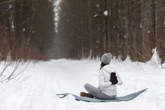Winter yoga session in beautiful place