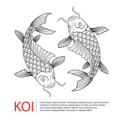 Hand drawn line art of Koi carp ,Carp fish logo, vector