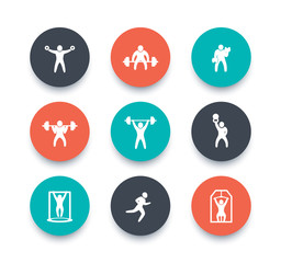 Gym, fitness exercises round color icons, gym training, workout icon, vector illustration