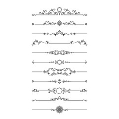 Vintage dividers set isolated on white.