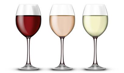 Verre de vin rouge blanc et rosé 01