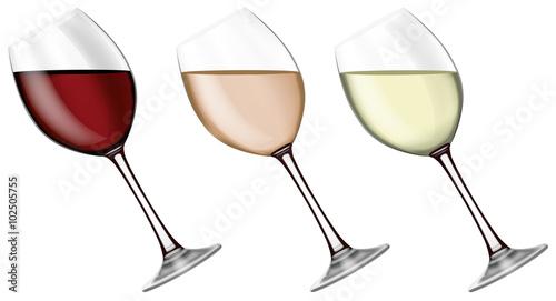 Verre de vin rouge blanc et ros 02 fichier vectoriel - Verre de vin dessin ...