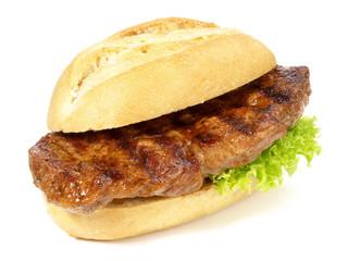 Steak im Brötchen