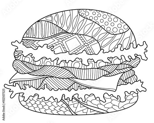 hamburger zentangle coloring page - Zentangle Coloring Pages