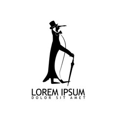 Black and white logo gentleman penguin with umbrella