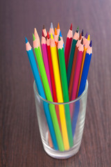 Cup with colorful pencils, closeup