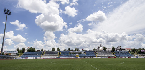 The old stadium tribune on May 24, 2015 in Targu-Jiu.  It was demolished in the next period and  will be rebuilt in 2016.