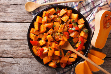 Vegetarian food: pumpkin curry. horizontal top view