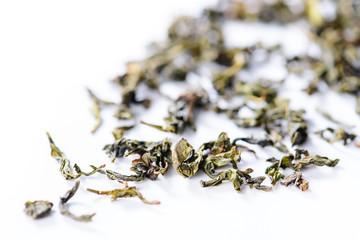 background texture of loose leaf Bao Zhong Oolong Tea green tea