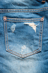 front view of blue jeans pocket