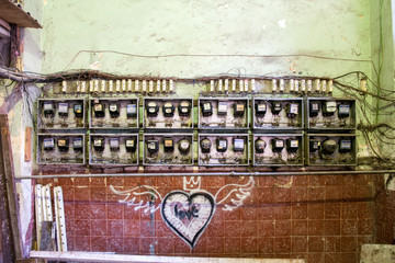 old electricity meters with wireless in the building
