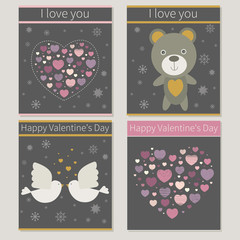 love, Valentine's Day Greeting cards. Vector illustrations