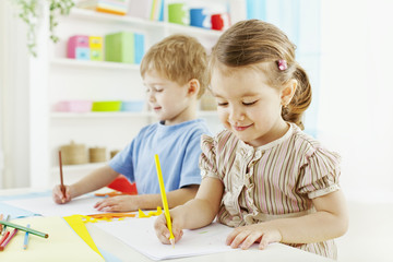 Adorable kids drawing